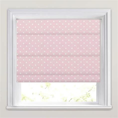 Rose Pink & White Polka Dots Patterned Nursery Roman Blinds