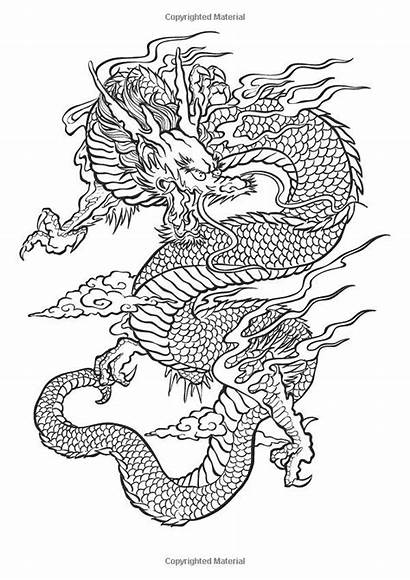 Dragon Tattoo Chinese Drawing Colouring Coloring Designs