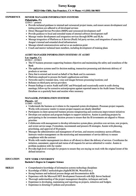 information systems resume skills information system