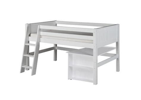 White Low Loft Bed With Desk by Low Loft Bed Retractable Desk Panel White