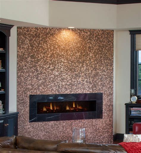 fireplace wall tile pictures of pennies installed as mosaic tile sheets on