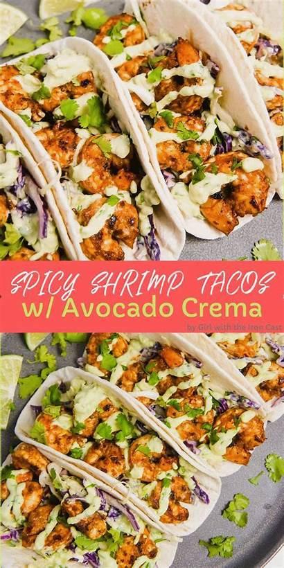 Spicy Shrimp Tacos Avocado Crema Recipes Dinner