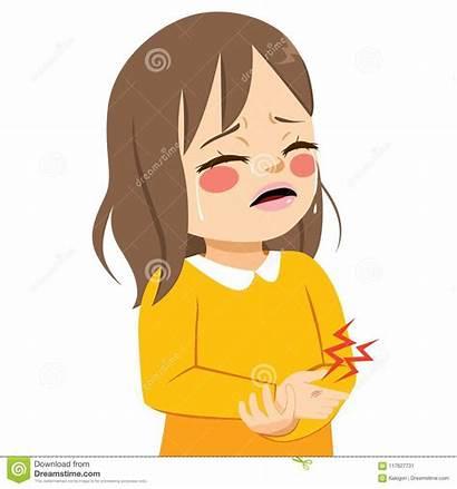 Hurt Cartoon Crying Gekwetste Meisje Clipart Pain
