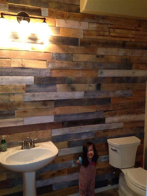 pallet wood slats accent wall   bathroom