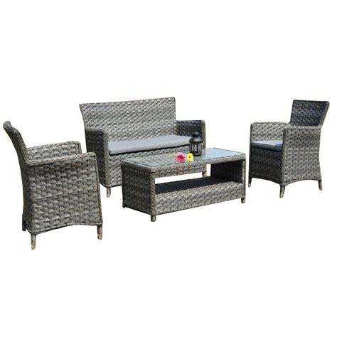 salon de jardin naples r 233 sine tress 233 e gris vieilli table canap 233 2 fauteuils leroy merlin