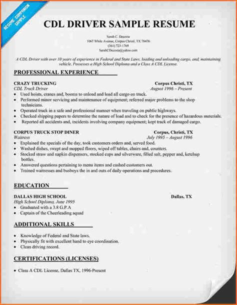 Cdl Resume by 6 Truck Driver Resume Sle Budget Template Letter