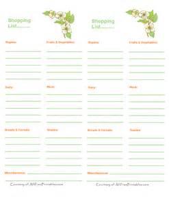 Free Printable Diabetic Shopping List