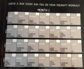 Insanity Workout Calendar Month 1
