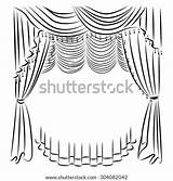 Curtains Coloring Line Template sketch template