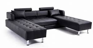 idee deco canape cuir noir ciabizcom With tapis jaune avec canape en cuir promo