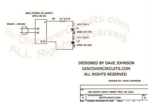 Hobby Circuit White Led Night Light Designed David
