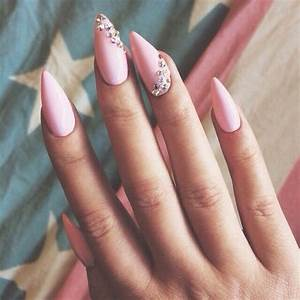 Pink Stiletto Rhinestone Nails Pictures, Photos, and ...
