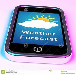 Mobile Phone Shows Cloudy Sun Weather Forecast Stock ...