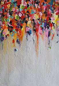 Abstract Painting on Panel Original Painting Rainbow Rain ...
