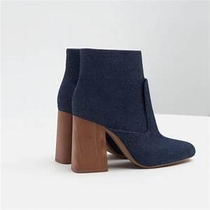 Zara High Heel Denim Ankle Boots in Blue | Lyst