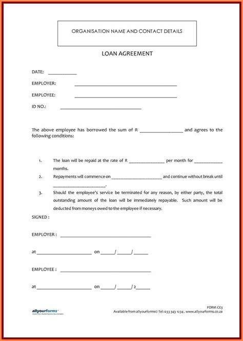 sample personal loan agreement template purchase