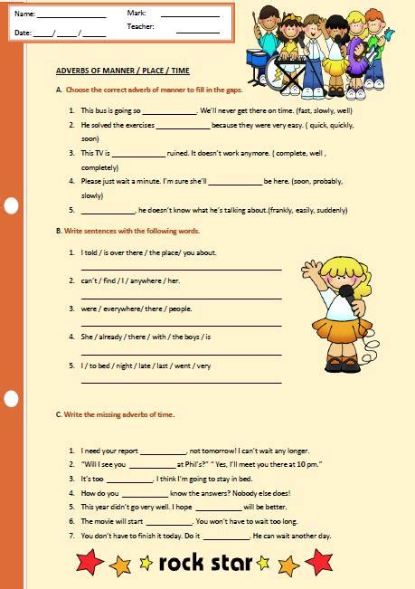 adverbs of manner place and time worksheet