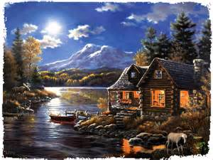 Lake Thomas Kinkade Cabin Paintings