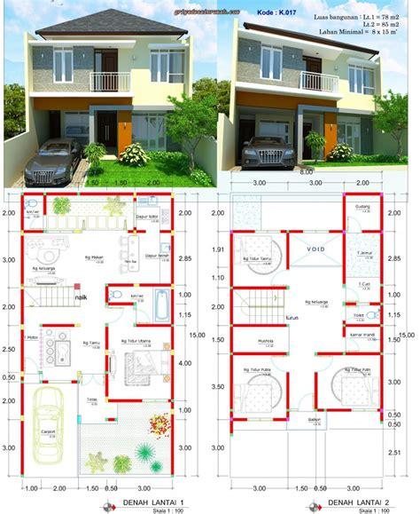 desain rumah lebar    meter  lantai minimalis jasa