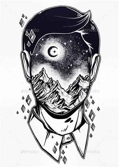 Surrealism Face Drawing Surreal Drawings Landscape Mountain