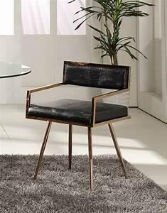 Modrest, Rosario, Modern, Black, U0026, Rosegold, Dining, Chair