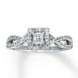 engagement ring 1 2 ct tw princess cut 14k white gold - Kays Jewelers Engagement Rings