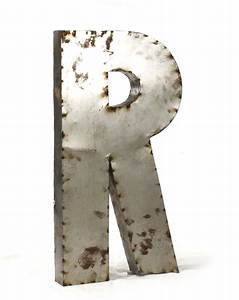 industrial rustic metal large letter r 36 inch kathy kuo With metal letter r