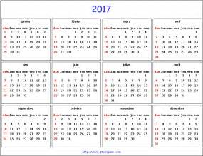 French Calendar 2017 with Holidays