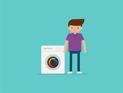 Washing Machine Animation Dribbble Illustration Young Guy