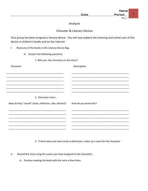 literary devices bags analysis worksheet