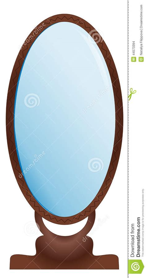 large mirror stock vector illustration  brown glass