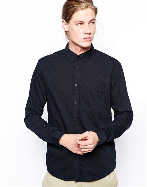Kemeja Topman Pocket Denim saku denim hitam kaus katun pria kasual kemeja pria lengan