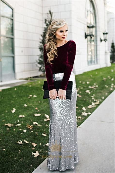 elegant long sleeve  tone sequin skirt floor length