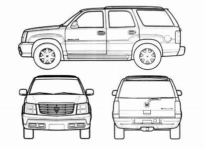 Cadillac Escalade Blueprints Suv 2004 Outlines Templates