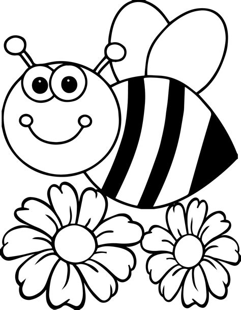 bee flower coloring page wecoloringpagecom