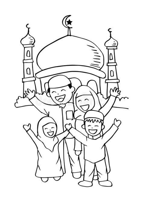 illustration  happy muslim family   mosque
