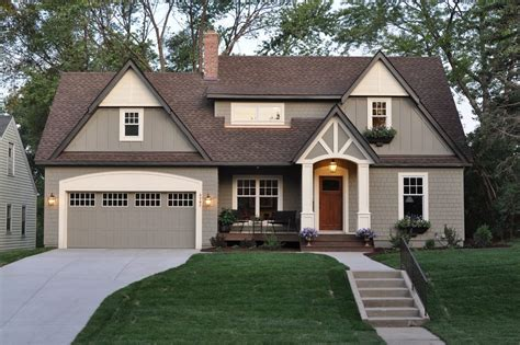 grey house with brown deck exterior traditional with front