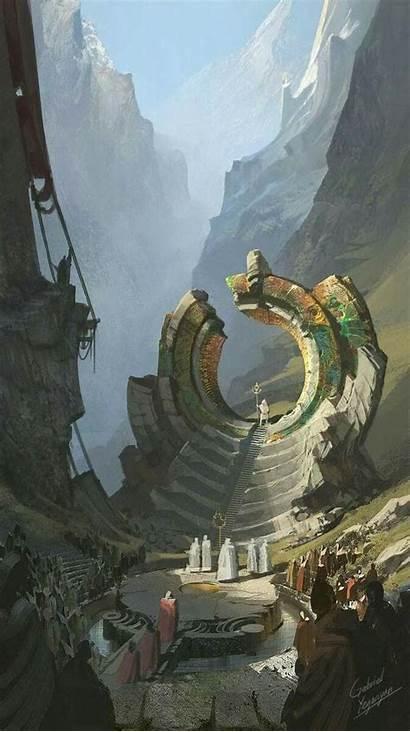 Fantasy Concept Landscape Environment Painting Stargate Artwork