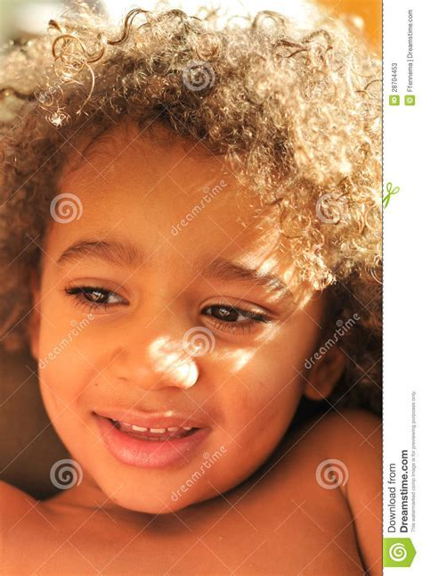 Young Mixed Race Boy With Curly Hair Stock Image   Image