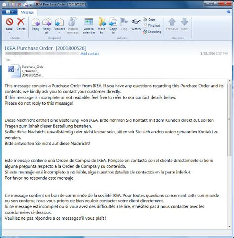 Fake Ikea Purchase Order Email Comes With Malicious Macro