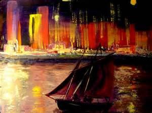 Le De Nuit Moderne by Peinture Le Port La Nuit La Ville