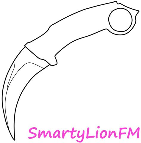 karambit template knife free colouring pages