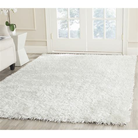 safavieh hand tufted silken  white shag area rugs