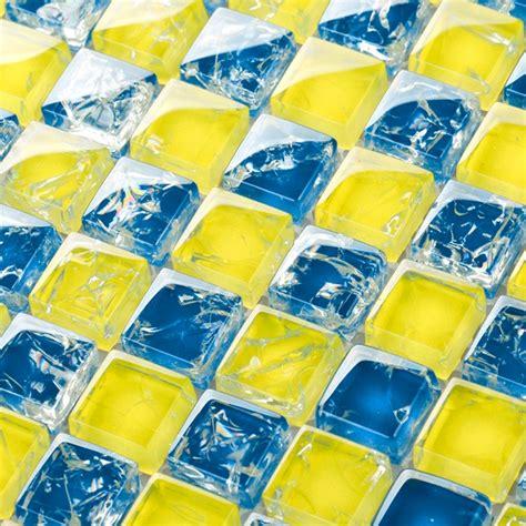 yellow mixed blue art mosaic square crystal glass mosaic