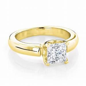 14K Gold Solitaire Princess Cut Diamond Engagement Ring 1 ...