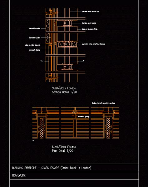 glass facade detail dwg detail  autocad designs cad