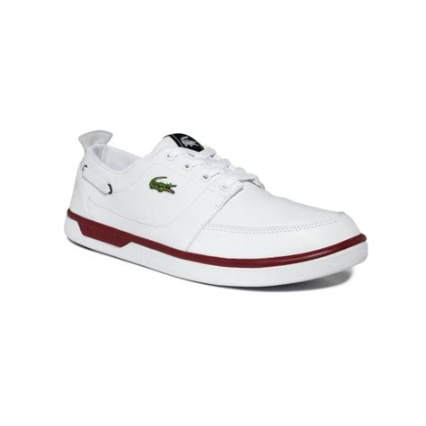 White Boat Shoes by Lacoste Topa Boat Shoes In White For Men White Red Lyst