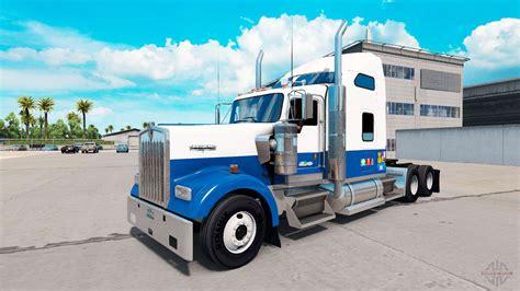 skin blue white truck kenworth   american truck