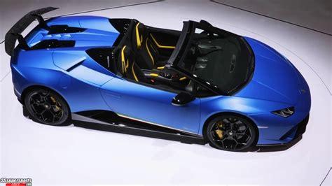 1 Blue Lamborghini Huracan Performante Spyder At Geneva