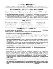 resume exles for safety managers safety resume sle exle